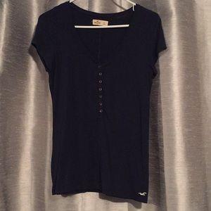 Hollister V-Neck Button Down T-shirt